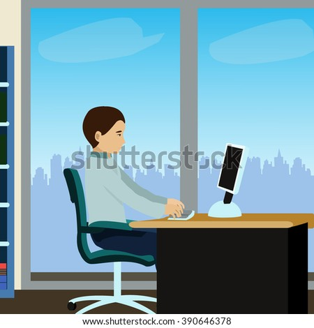 Young man working on desk. Flat vector illustration. - stock vector