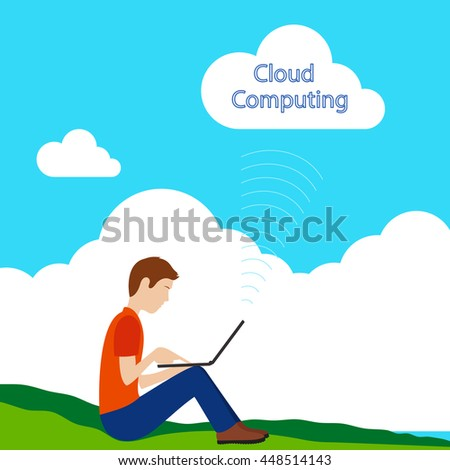 Young man working with a laptop using cloud computing