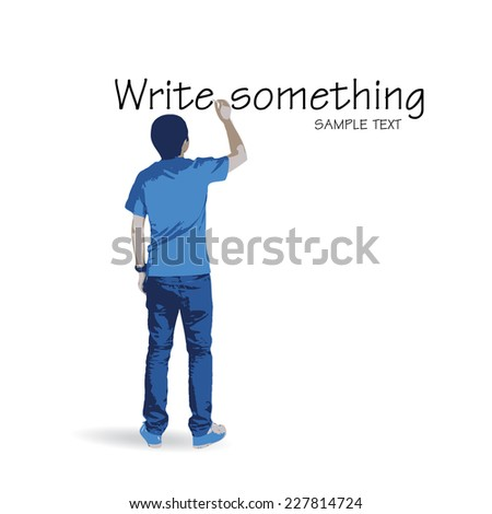 Young man writing something on white wall background. Vector illustration.