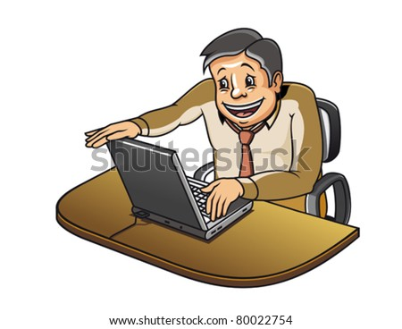 Young manager in office working on computer. Jpeg version also available in gallery