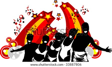 Young men dance to music in style of a disco; - stock vector