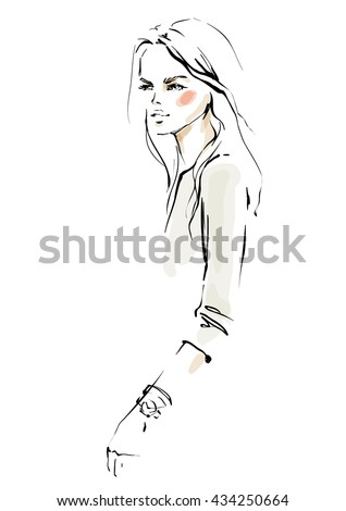 Young modern woman sketch