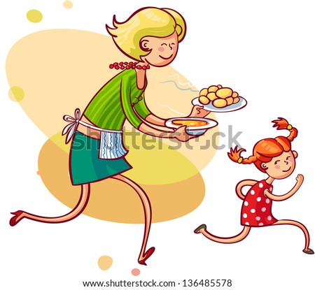 Young mom feeding naughty daughter. Vector illustration - stock vector
