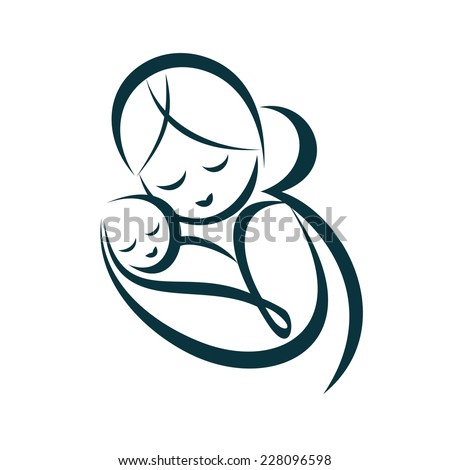 young mom hugs her baby, stylized vector symbol - stock vector