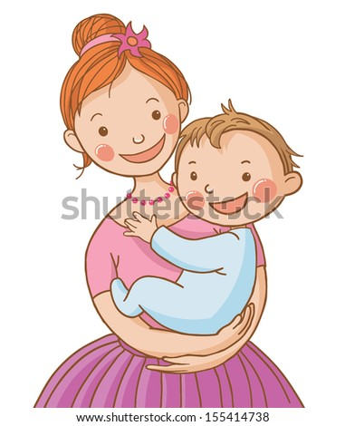 Young mother holding a baby boy. Isolated VECTOR illustration on white background. This images can be use for health care magazine, education book, advertising and etc.  - stock vector