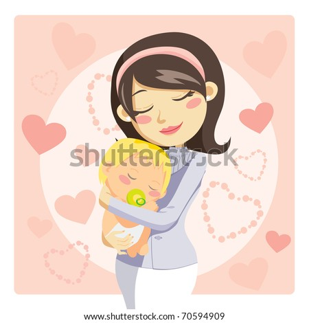 Young mother hugging her baby with care and love while he sleeps - stock vector