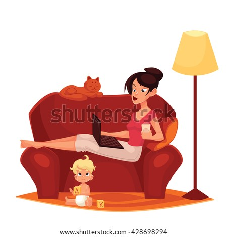Young mother is working at home, vector cartoon comic illustration isolated on white background, woman, mother sitting on the couch with a computer ready, Internet, child homes, mom freelance women - stock vector