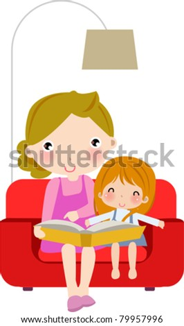 Young mother reading book to her daughter - stock vector
