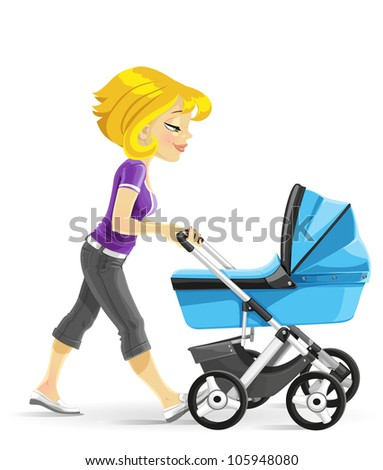 Young mother walking with a blue baby carriage - stock vector