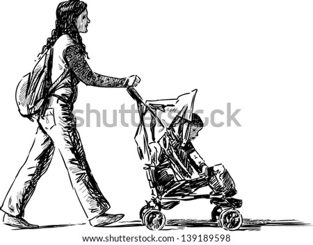 young mother with a baby - stock vector