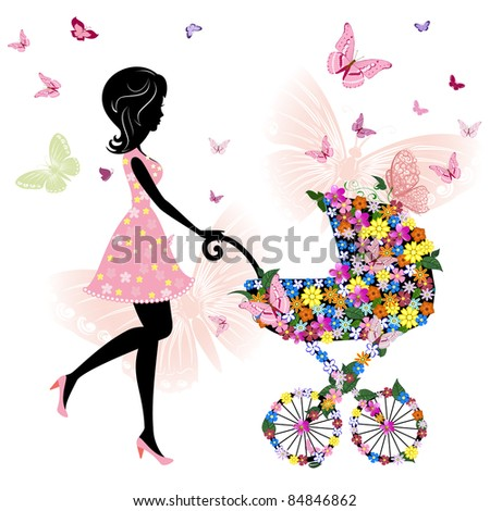 young mother with a stroller - stock vector
