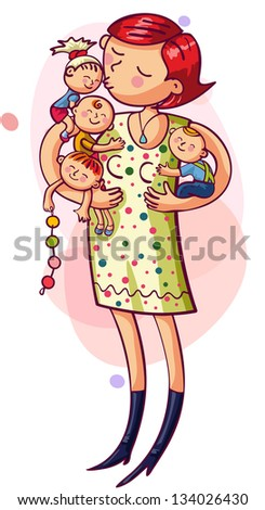 Young mother with with kids in their arms. Happy family - stock vector