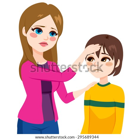 Young mother worried mother checking temperature touching his son head with hand - stock vector