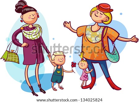 Young mothers with children is shopping together - stock vector