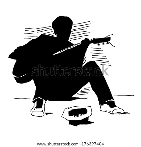 Young musician playing on guitar on the street with hat  waiting for donation silhouette on white background - stock vector