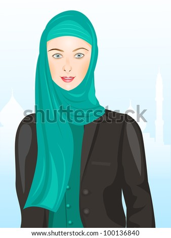 Young muslim girl smailing, wearing hijab on seamless background. Vector illustration in EPS 10. - stock vector
