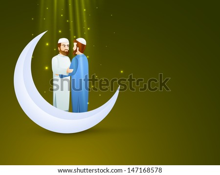 Young Muslim man's in traditional dress wishing to each other on occasion of Eid Mubarak festival with crescent moon - stock vector