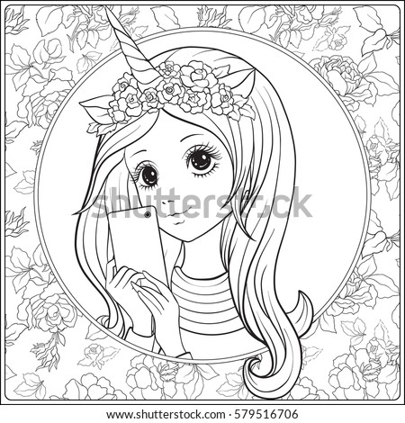 Young Nice Girl Long Hair Unicorn Stock Vector 579516706