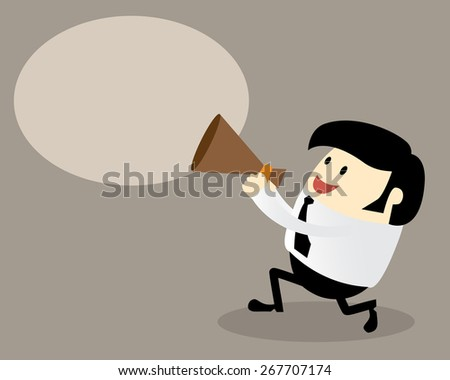 Young office man with a megaphone, Business concept, attention, use in advertising, presentations, brochures, blogs, documents and forms, etc. - stock vector