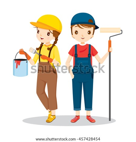 Young Painters With Tools, People Occupations, Profession, Worker, Job, Duty - stock vector