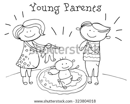Young parents. Kids Health. Graphics sketch in vector.