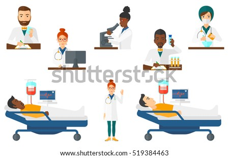 Young patient lying in hospital bed. Patient with heart rate monitor and equipment for blood transfusion lying in hospital bed. Set of vector flat design illustrations isolated on white background.