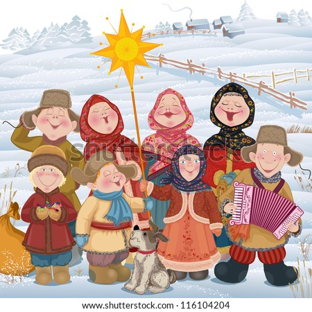 Young people and children in Russian village singing of Christmas carols in Christmastide - stock vector