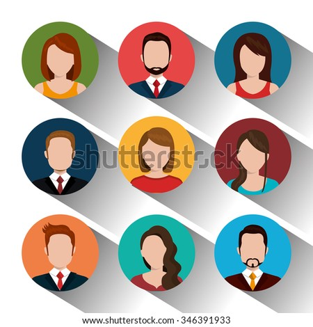 Young people avatar silhouette graphic design, vector illustration eps10