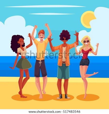 Young People Dancing On The Beach Cartoon Style Vector Illustration Men And Women
