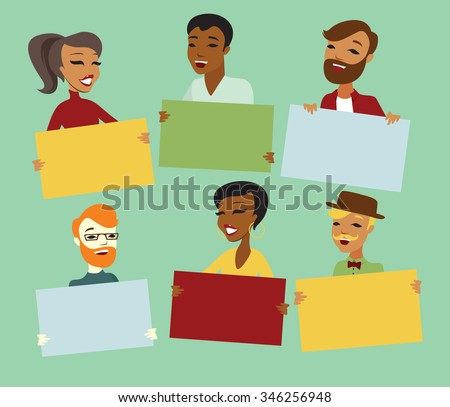 Young people holding blank cards to place your text - stock vector