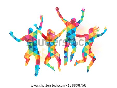 Young people jumping in celebration with abstract pattern. Vector illustration
