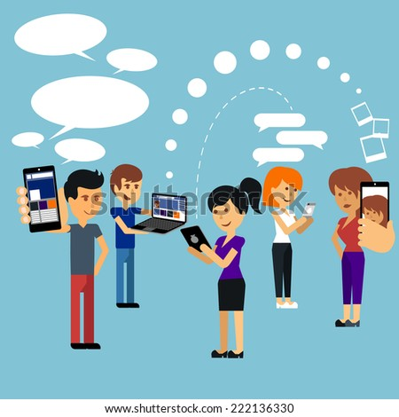 Young people man and woman using technology gadget smartphone mobile phone tablet pc laptop computer in social network communication concept flat design cartoon style with copyspace - stock vector