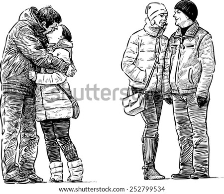 young people on a bus stop - stock vector