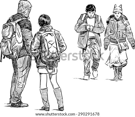 young people on a city street - stock vector