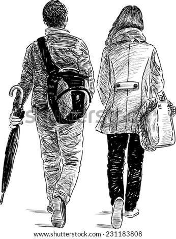 young people on a walk - stock vector