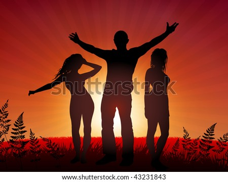 Young people party on sunset background Original Vector Illustration Young Crowd Ideal for Party Background