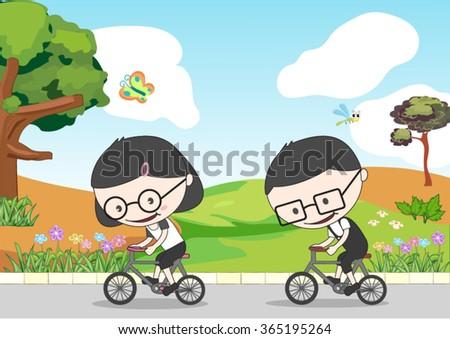 young people riding a bikes near the garden - stock vector