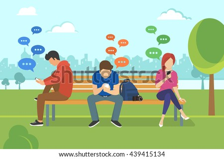 Young people sitting in the park and texting messages in chat using smartphone. Flat modern illustration of chat via mobile phone, sending message and texting to friends via messenger app - stock vector