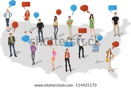 Young people with speech balloons over United States of America map - stock vector