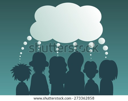 Young People with speech bubbles in a debate or sharing ideas.  - stock vector