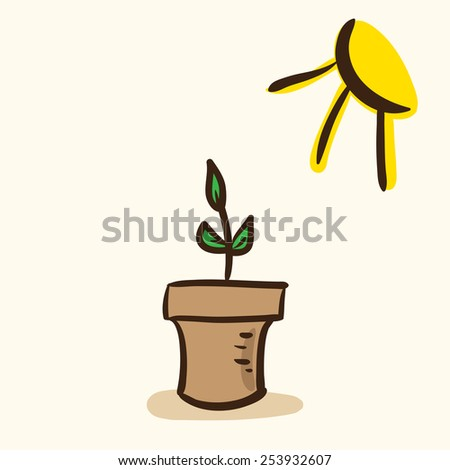 Young plant in pot. Vector drawing.