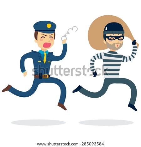 Young police man running chasing thief escaping with stolen bag - stock vector