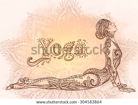Young pretty girl doing yoga. Vintage decorative vector illustration. Hand drawn background. Mehenidi ornate decorative style. Yoga studio  concept, Indian, Hindu motifs. - stock vector