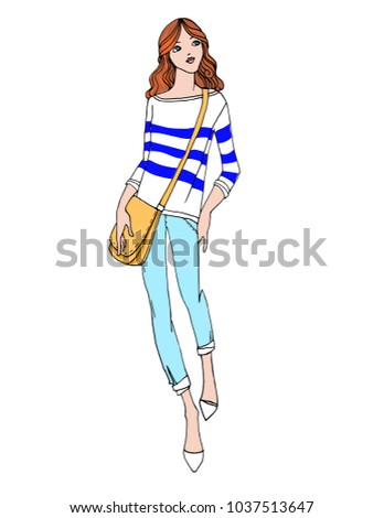 Young pretty girl with yellow bag in hand drawn line sketch style. Colorful vector illustration