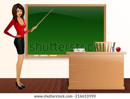 young pretty good teacher board Pointer teacher - stock vector