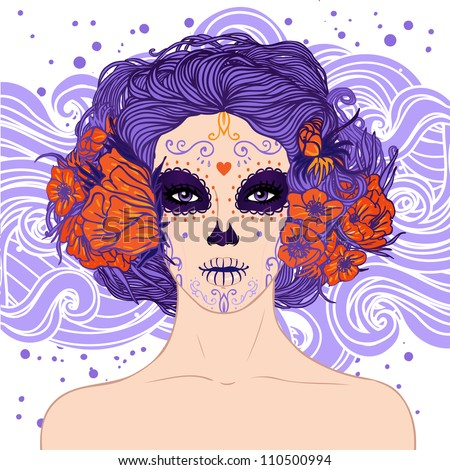 Young pretty Mexican Sugar Skull girl y with flowers in her hair and scary makeup for Day of the Dead (Dia de los Muertos) or Halloween . - stock vector