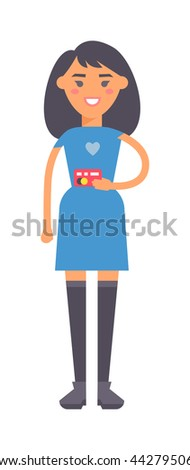 Young pretty smiling asian girl showing her credit card camera. girl holding credit card shopping, money plastic card. Cute attractive girl holding credit card finance modern payment vector concept - stock vector