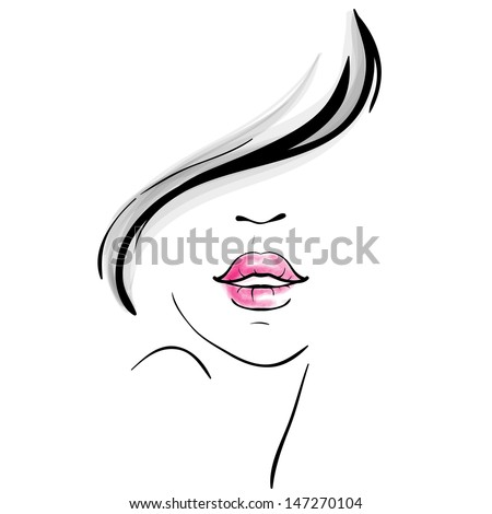 Young pretty woman portrait sketch - stock vector
