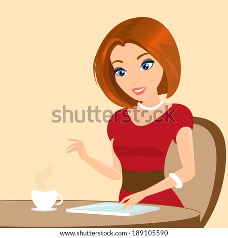 Young pretty woman sitting in the cafe and using a tablet pc. Close-up illustration.  - stock vector