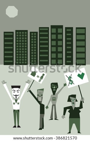 Young protesters  holding signs, protesting against capitalism and the cost of living - stock vector